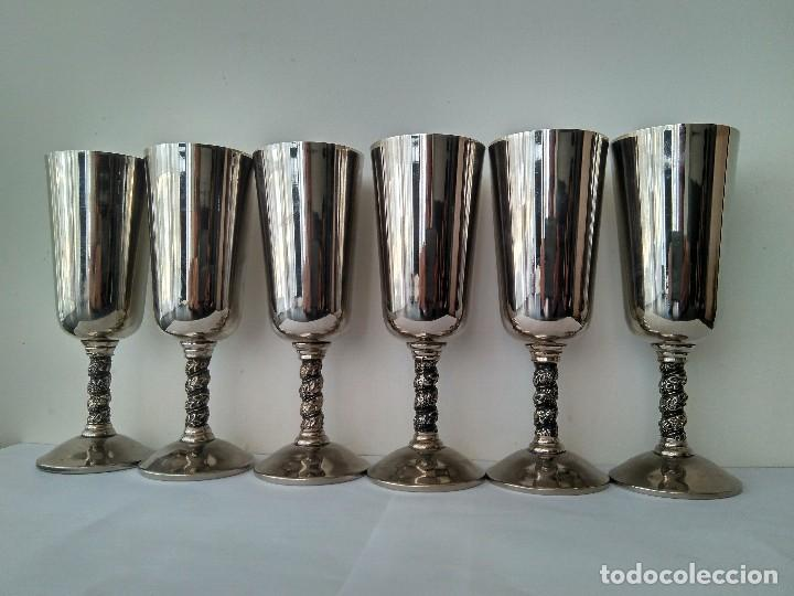 Antigüedades: Antiguas Copas De Champán o Vino De Metal Cromado-ROMA,S.L.MADE IN SPAIN/MADRID - Foto 2 - 132467102