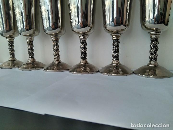 Antigüedades: Antiguas Copas De Champán o Vino De Metal Cromado-ROMA,S.L.MADE IN SPAIN/MADRID - Foto 4 - 132467102