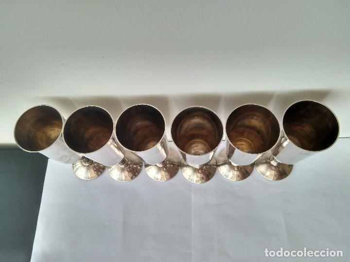 Antigüedades: Antiguas Copas De Champán o Vino De Metal Cromado-ROMA,S.L.MADE IN SPAIN/MADRID - Foto 6 - 132467102