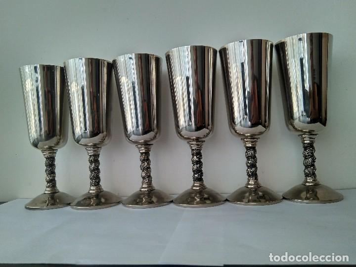 Antigüedades: Antiguas Copas De Champán o Vino De Metal Cromado-ROMA,S.L.MADE IN SPAIN/MADRID - Foto 7 - 132467102