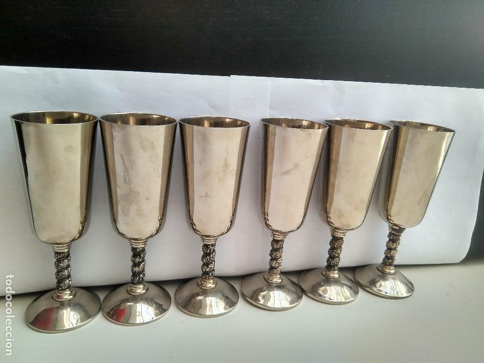 Antigüedades: Antiguas Copas De Champán o Vino De Metal Cromado-ROMA,S.L.MADE IN SPAIN/MADRID - Foto 8 - 132467102