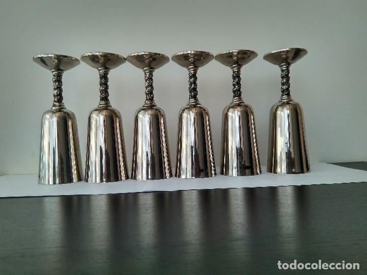 Antigüedades: Antiguas Copas De Champán o Vino De Metal Cromado-ROMA,S.L.MADE IN SPAIN/MADRID - Foto 11 - 132467102
