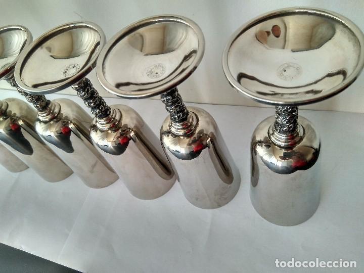 Antigüedades: Antiguas Copas De Champán o Vino De Metal Cromado-ROMA,S.L.MADE IN SPAIN/MADRID - Foto 15 - 132467102