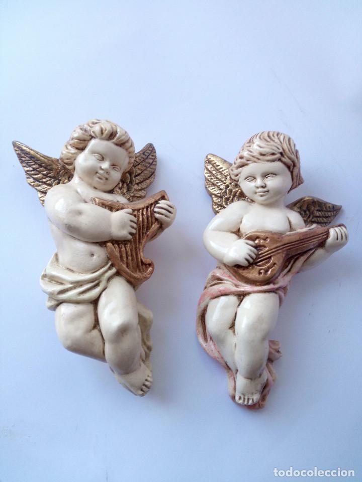 DOS ANGELITOS ESCAYOLA (Antigüedades - Religiosas - Varios)