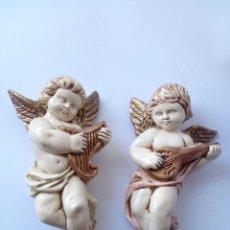Antigüedades: DOS ANGELITOS ESCAYOLA. Lote 132478394