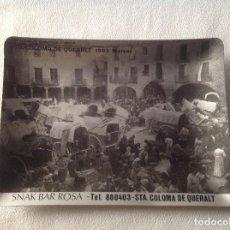 Antigüedades: CENICERO METALICO DE SANTA COLOMA DE QUERALT CON LITOGRAFÍA DEL MERCAT 1903 DE PUBLICIDAD. Lote 132506630