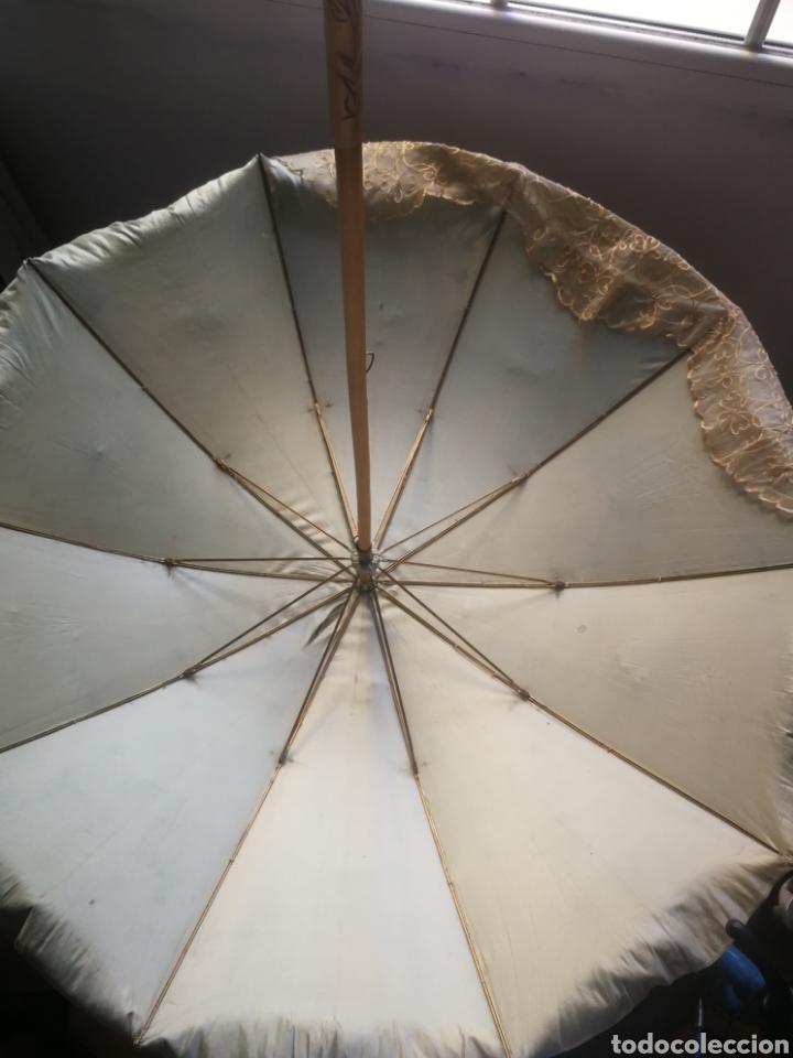Antigüedades: ANTIGUA Y PRECIOSA SOMBRILLA DEL SIGLO XIX - ELEGANTISIMA SOMBRILLA DE SEDA AZUL CELESTE CON ENCAJE - Foto 14 - 27616807