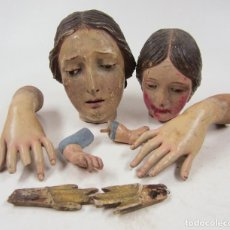 Antigüedades: 2 CABEZAS DE MADERA DE VIRGEN DEL S.XIX Y 4 BRAZOS VARIOS.. Lote 140252902