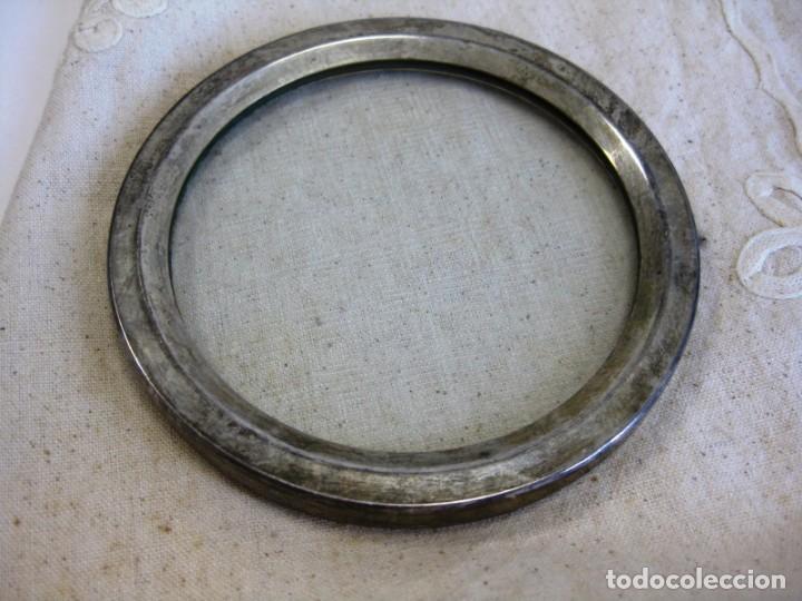Antigüedades: SALVAMANTEL EN ALPACA Y CRISTAL LABRADO AL ÁCIDO FORMA GEOMÉTRICA - Foto 6 - 132560878