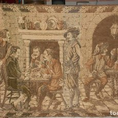 Antigüedades: ANTIGUO TAPIZ GRANDE. PARTIDA DE CARTAS. TABERNA. POSADA. . Lote 132563666