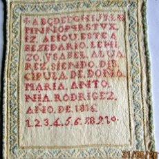 Antigüedades: ABECEDARIO EN PUNTO DE CRUZ - 1816. Lote 132572442