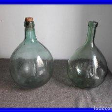 Antigüedades: PAREJA DE BOTELLAS DE CRISTAL PARA VINO ANTIGUAS. Lote 132574390