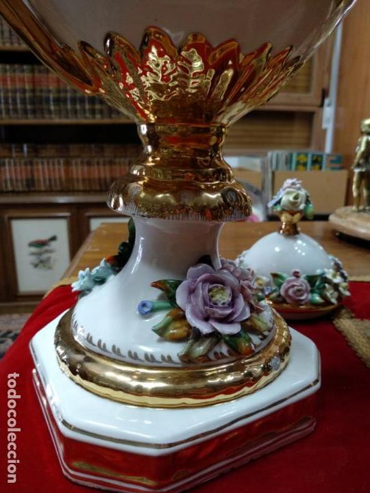 Antigüedades: ESPECTACULAR JARRÓN DE PORCELANA Y ORO FINO - DECORACIÓN FLORAL EXTRAORDINARIA - PIEZA DE MUSEO - - Foto 10 - 132585462