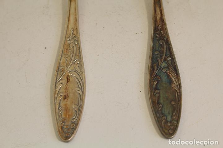 Antigüedades: 2 cucharas en plata de ley punzonada - Foto 5 - 137477880