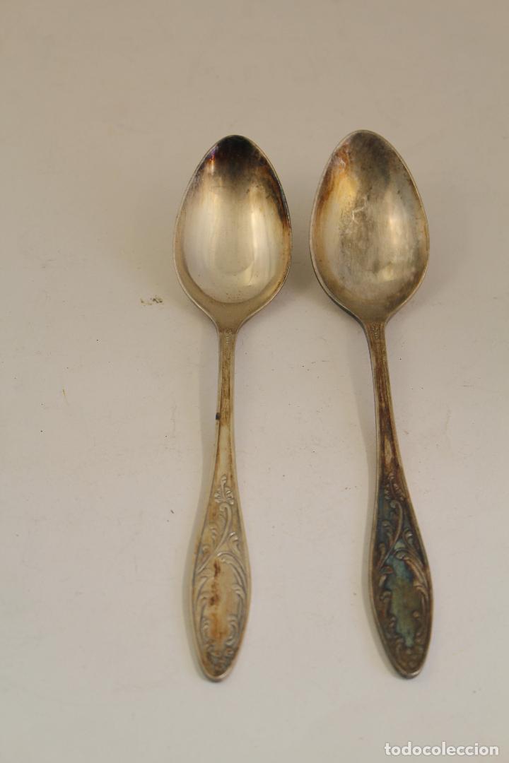 Antigüedades: 2 cucharas en plata de ley punzonada - Foto 6 - 137477880