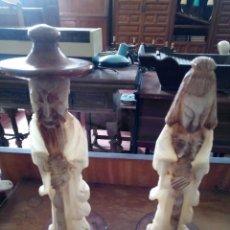 Antigüedades: FIGURAS DE ALABASTRO PAREJA ORIENTAL. Lote 132592946