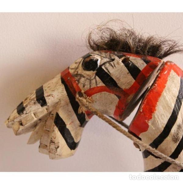 Antigüedades: Marioneta antigua de madera caballo - Foto 2 - 123397984