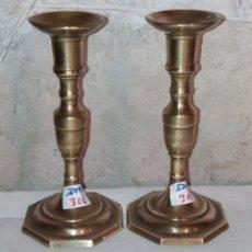 Antigüedades: 2 CANDELABROS DE BRONCE, ANTIGUOS. Lote 132648986