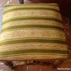Antigüedades: BANQUETA TABURETE DE CASTAÑO TALLADO. Lote 132668202