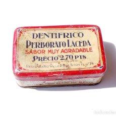 Antigüedades: ANTIGUA CAJA DENTRIFICO. PERBORATO LACEDA. LABORATORIOS LACEDA. BARACALDO . VIZCAYA. Lote 132674354