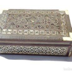 Antigüedades: PRECIOSA CAJA DE MARQUETERIA GRAN TRABAJO DE ARTESANIA - 20 X 12,5 X 6 CM. Lote 132675914