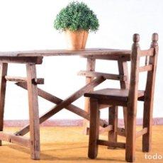 Antigüedades: MESA TOCINERA DE MADERA MUY ANTIGUA - TÍPICA MESA DE COCINA RURAL - ESTILO RÚSTICO. Lote 132677098