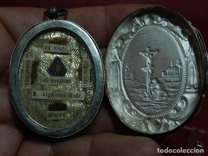 Antigüedades: Relicario de plata. San Alonso Rodríguez. Siglo XIX. 1830. Mallorca. Baleares. - Foto 18 - 132686754