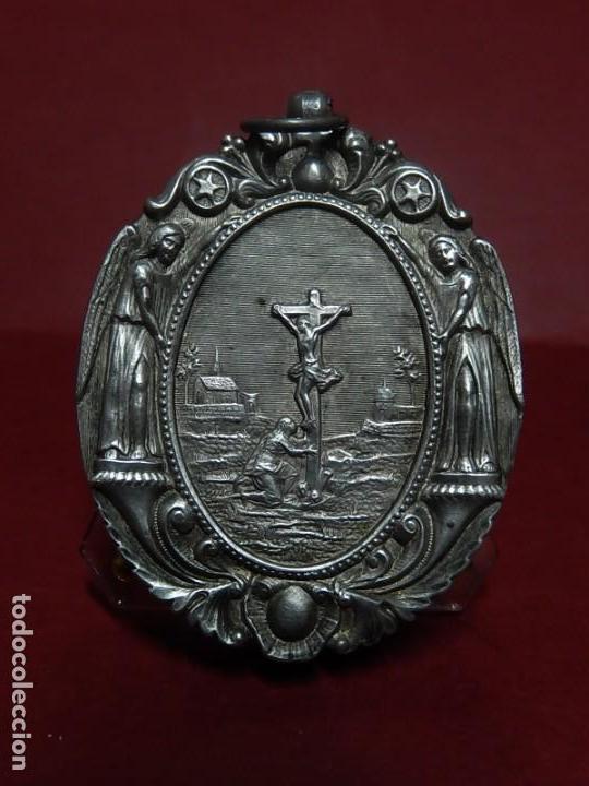 RELICARIO DE PLATA. SAN ALONSO RODRÍGUEZ. SIGLO XIX. 1830. MALLORCA. BALEARES. (Antigüedades - Religiosas - Relicarios y Custodias)