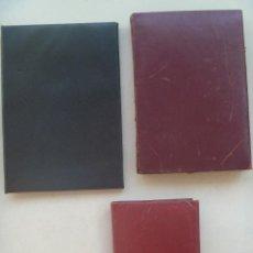 Antigüedades: LOTE DE 3 PORTAFOTOS ANTIGUOS DE PIEL.. Lote 132704454