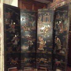 Antigüedades: BIOMBO CHINO LACADO DE CUATRO HOJAS. Lote 132229974