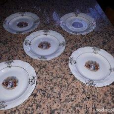 Antigüedades: ANTIGUO JUEGO DE 5 PLATOS DE POSTRE LA CARTUJA. Lote 132722914