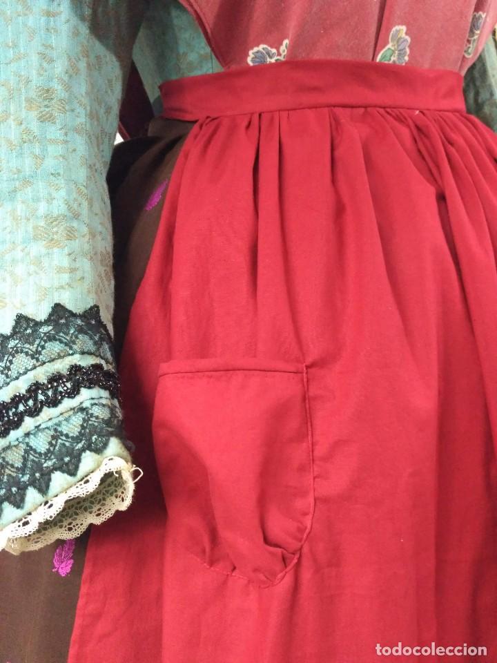 Antigüedades: Delantal de algodón, rojo. - Foto 5 - 132735742