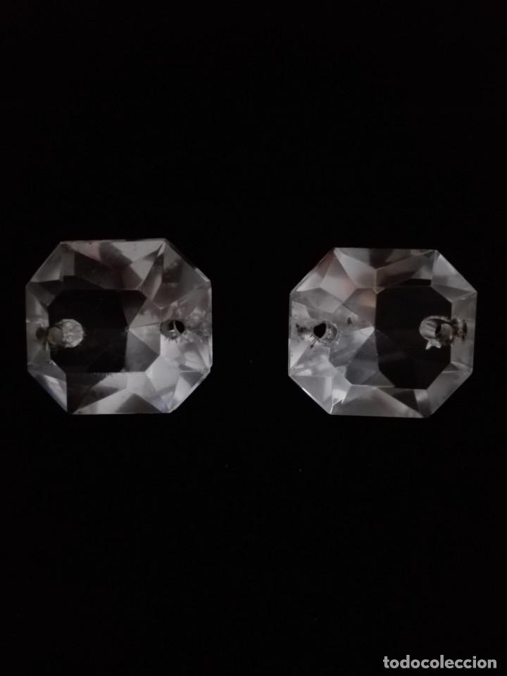 DOS PRISMAS - CRISTAL TALLADO - LA GRANJA - LAMPARA - ARAÑA (Antigüedades - Cristal y Vidrio - La Granja)