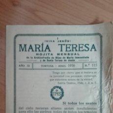 Antigüedades: HOJA MENSUAL HIJAS DE MARÍA INMACULADA 1936. Lote 132755557