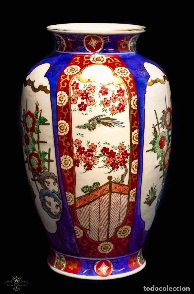 Antigüedades: ESPECTACULAR FLORERO IMARI, DE MUY GRAN TAMAÑO, PORCELANA JAPONESA - Foto 2 - 132763746