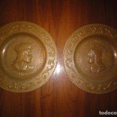 Antigüedades: REYES CATÓLICOS. PLATOS DE COBRE, IMAGEN REPUJADA. Lote 132771082