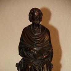 Antigüedades: BRONCE DE SAN PEDRO SEDENTE - FIGURA ESCULTURA. Lote 132793338