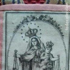 Antiquitäten - ESCAPULARIO VIRGEN DEL CARMEN S.XIX . IMAGEN SEDA SERIGRAFIADA.5.5X7.5 CMS - 132808974