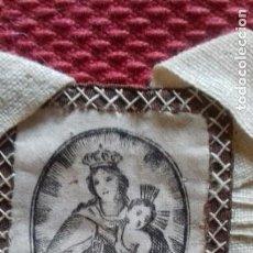 Antigüedades: PRECIOSO ESCAPULARIO VIRGEN DEL CARMEN. S.XIX IMAGEN SEDA SERIGRAFIADA.4X5 CMS. Lote 132812850