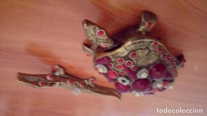 VINTAGE TORTUGA Y LAGARTO EN BRONCE ANTIGUO (Antigüedades - Religiosas - Varios)