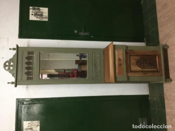 Antigüedades: Preioso mueble-perchero, restaurado, pintado con verde oliva Annie Sloan. único. - Foto 2 - 132824626