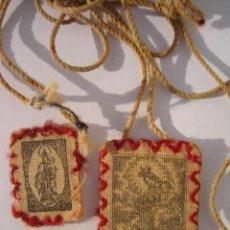 Antigüedades: ANTIGUO ESCAPULARIO DE LA VIRGEN DEL CARMEN.PRINCIPIO SIGLO XX.. Lote 132825278