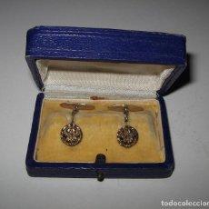Antigüedades: PAREJA DE ANTIGUOS GEMELOS CHAPADOS. Lote 132833882