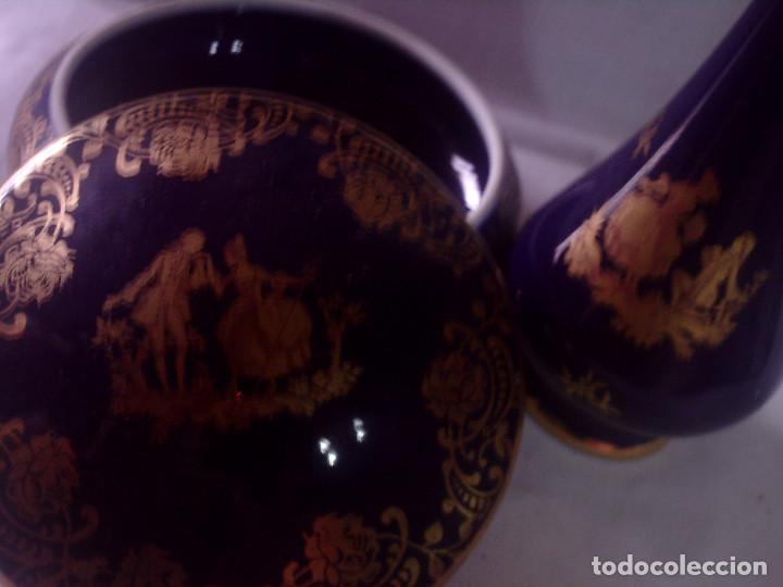 Antigüedades: CAJA - JOYERO Y VIOLETERO DE PORCELANA DE LIMOGES AZUL COBALTO DECORADOS EN ORO, SELLADOS - Foto 3 - 132842334