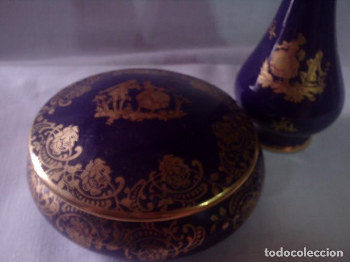 Antigüedades: CAJA - JOYERO Y VIOLETERO DE PORCELANA DE LIMOGES AZUL COBALTO DECORADOS EN ORO, SELLADOS - Foto 6 - 132842334
