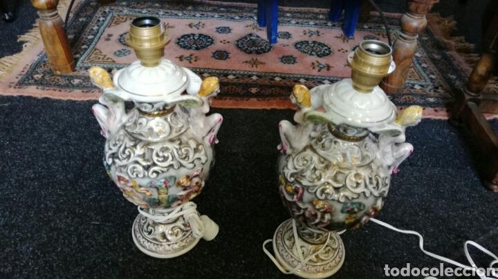 LAMPARAS DE PORCELANA CAPIDIMONTE MUY BONITOS L R (Antigüedades - Porcelanas y Cerámicas - Otras)
