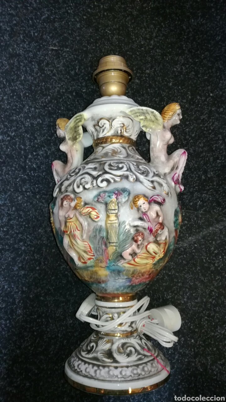 Antigüedades: Lamparas de porcelana Capidimonte muy bonitos L R - Foto 2 - 132873521