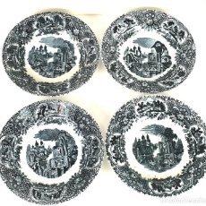 Antigüedades: SET DE 4 PLATOS DE PORCELANA. MARIANO POLA. GIJON. ASTURIAS. SIGLO XIX-XX. . Lote 132880750