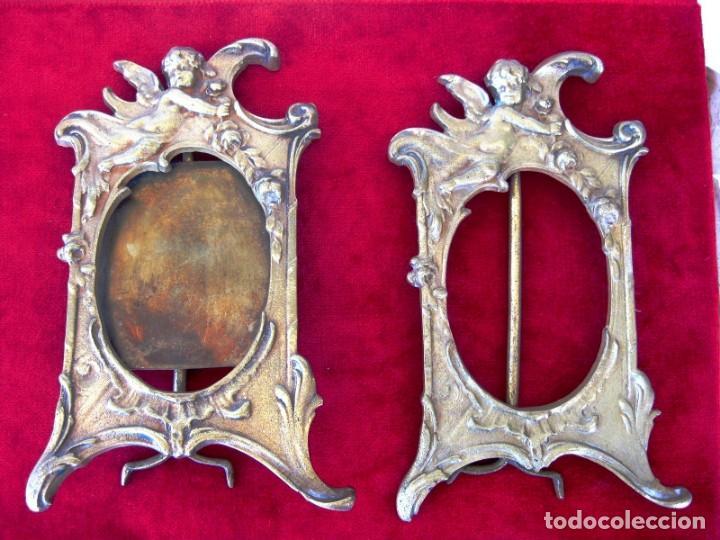 SACRAS DE BRONCE MACIZO CON QUERUBINES EN RELIEVE PESAN 1,4KILOS MIDEN 23 CMS. (Antigüedades - Religiosas - Orfebrería Antigua)