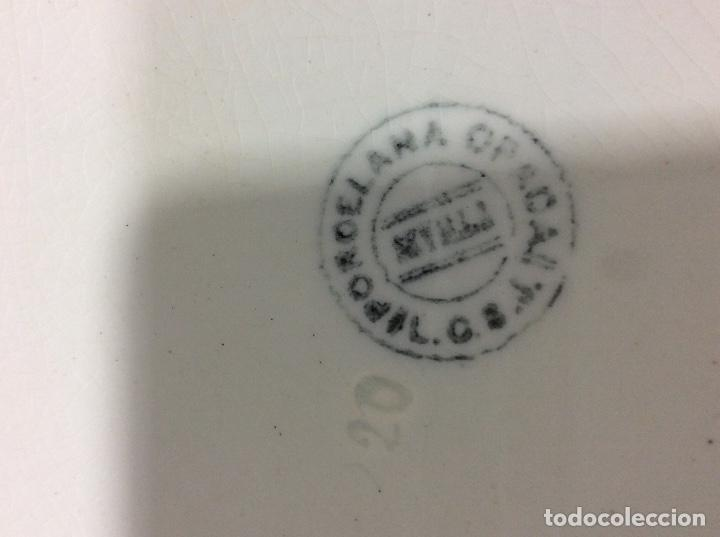 Antigüedades: Vajilla de porcelana opaca San Juan de Aznalfarache 36 piezas greca griega y filo de oro Circa 1900 - Foto 7 - 132900330